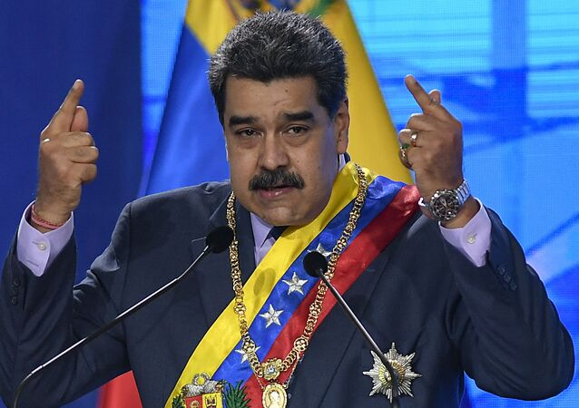 In this Jan. 22, 2021 file photo, Venezuelan President Nicolas Maduro speaks during a ceremony marking the start of the judicial year at the Supreme Court in Caracas, Venezuela.