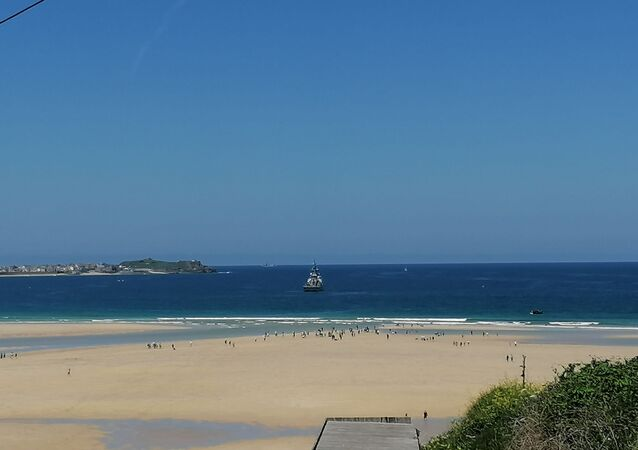 Royal Navy Ship Spotted in Carbis Bay