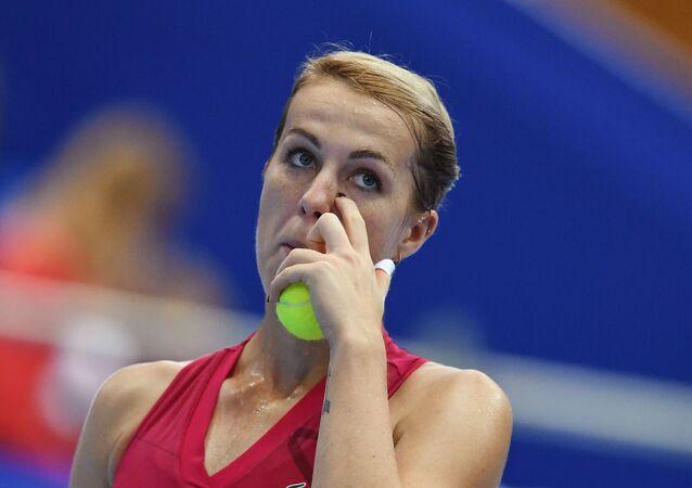 Anastasia Pavlyuchenkova (Russia) in the women's singles final match at the VTB Kremlin Cup against Belinda Benchich (Switzerland).