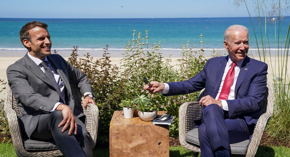 U.S. President Joe Biden and France's President Emmanuel Macron attend a bilateral meeting during the G7 summit in Carbis Bay, Cornwall, Britain, June 12, 2021.