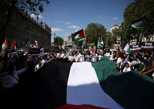 Pro-Palestine protesters hold a giant Palestinian flag as they demonstrate outside Downing Street in London, Britain, June 12, 2021.