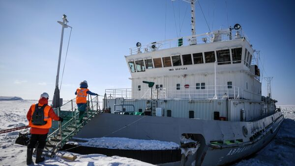 The Avraamy Zavenyagin icebreaker at the seaport of Dudinka. The federal Arctic port on the Northern Sea Route Dudinka is the largest in Siberia and the northernmost international seaport in Russia. - Sputnik International