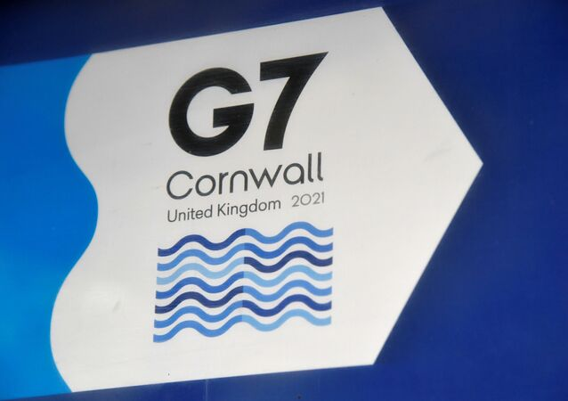 A G7 logo is seen on an information sign near the Carbis Bay hotel resort, where an in-person G7 summit of global leaders is due to take place in June, St Ives, Cornwall, southwest Britain May 24, 2021. Picture taken May 24, 2021.