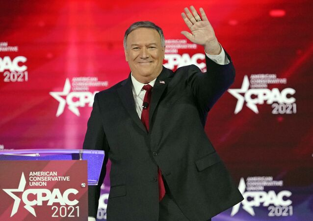 70th United States Secretary of State Mike Pompeo waves as he is introduced at the Conservative Political Action Conference (CPAC) Saturday, Feb. 27, 2021, in Orlando, Fla.