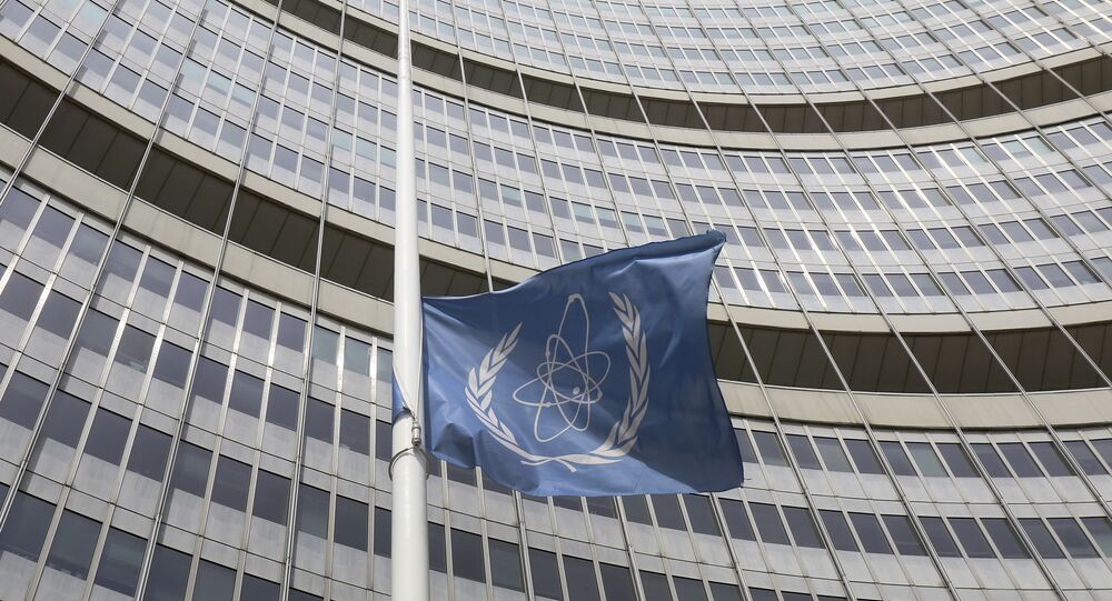 A flag is set to half mast in front of the International Atomic Energy Agency (IAEA) building in Vienna, Austria, Monday, July 22, 2019.