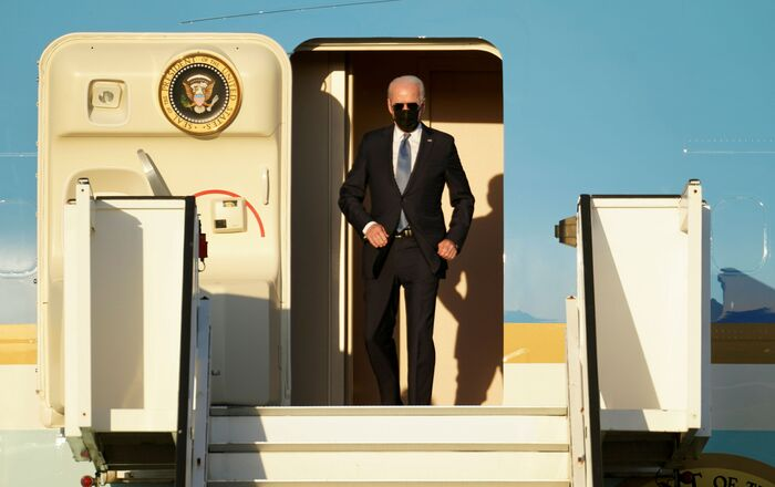 U.S. President Joe Biden arrives aboard the Air Force One ahead of a NATO summit, at Brussels Military Airport in Melsbroek, Belgium June 13, 2021.