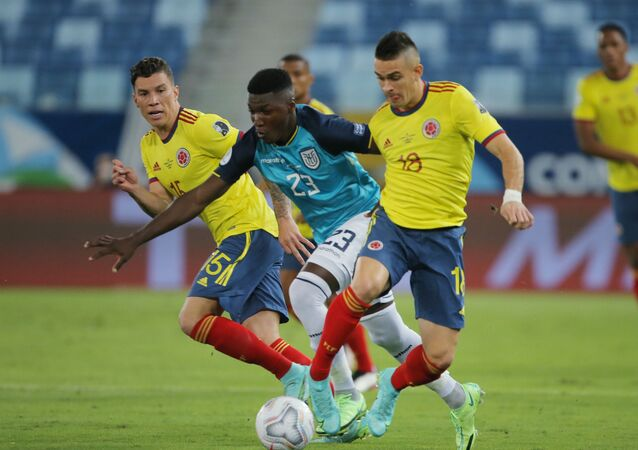 June 13, 2021 Ecuador's Moises Caicedo in action with Colombia's Santos Borre