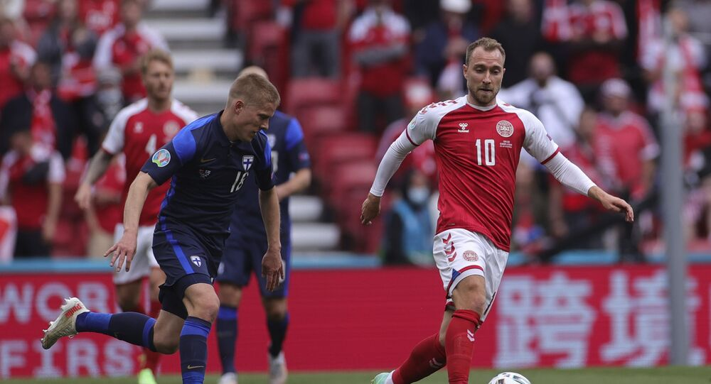 Christian Eriksen in action against Finland before he collapsed