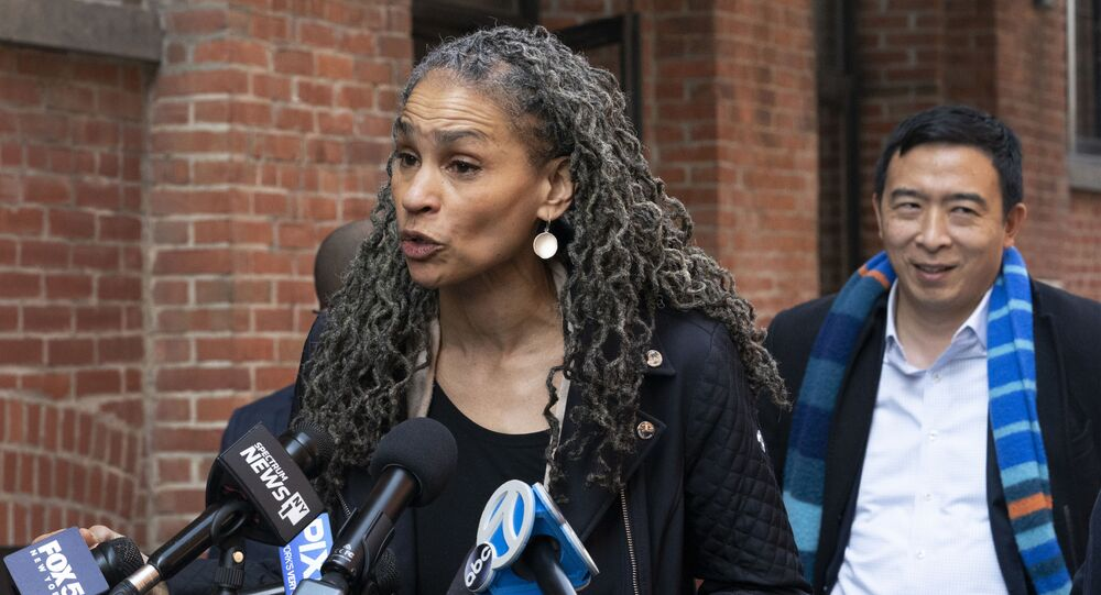 Democratic mayoral candidate Maya Wiley addresses news conference.