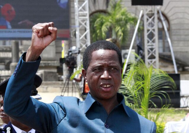 Edgar Lungu, the President of Zambia, gestures while attending the inauguration of Filipe Nyusi, the President of Mozambique, at the Independence Square in Maputo, on January 15, 2020.