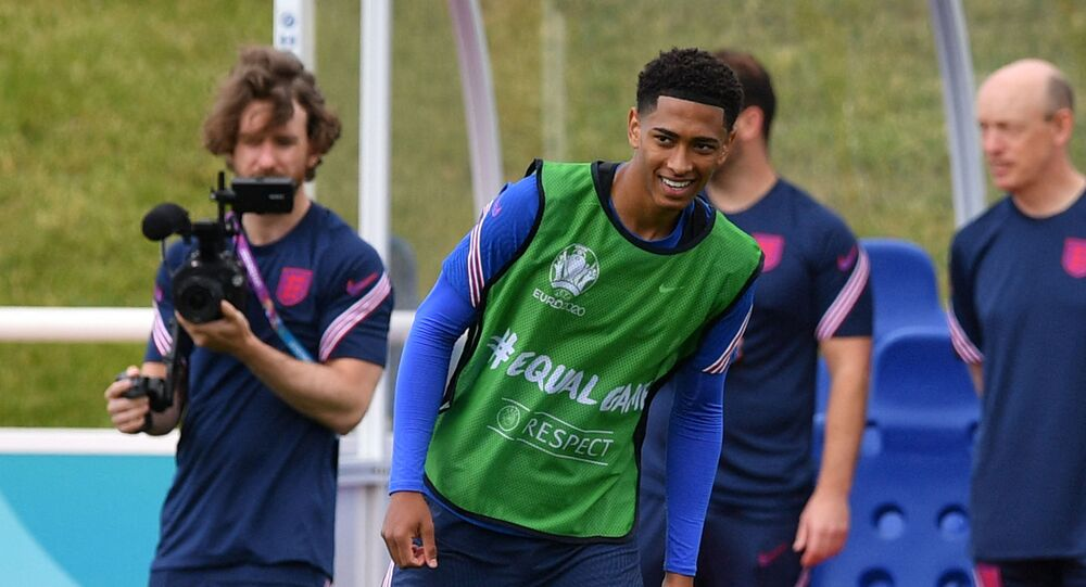 England's midfielder Jude Bellingham takes part in their MD-1 training session at St George's Park in Burton-on-Trent, central England, on June 12, 2021 on the eve of their UEFA EURO 2020 match against Croatia.