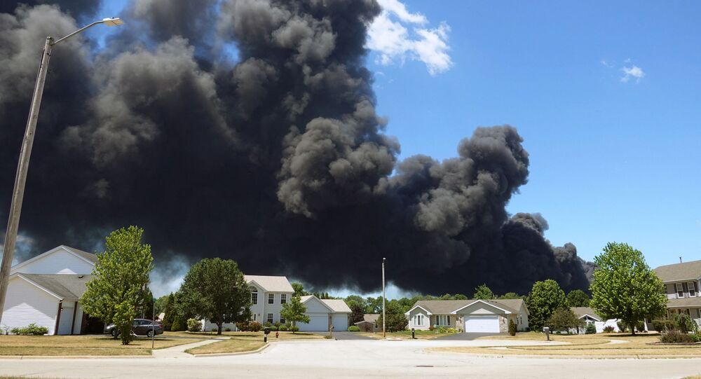 An industrial fire burns at Chemtool Inc. on June 14, 2021 in Rockton, Illinois. The chemical fire at the plant, which produces lubricants, grease products and other fluids, has prompted local evacuations.