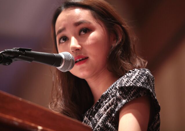 Yeon-mi Park speaking at the 2015 International Students for Liberty Conference at the Marriott Wardman Park Hotel in Washington, D.C.