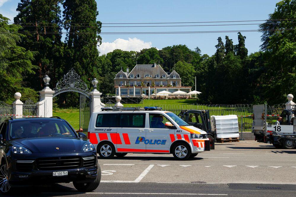 A police van is seen outside Villa La Grange ahead of the 16 June summit between US President Joe Biden and Russian President Vladimir Putin.