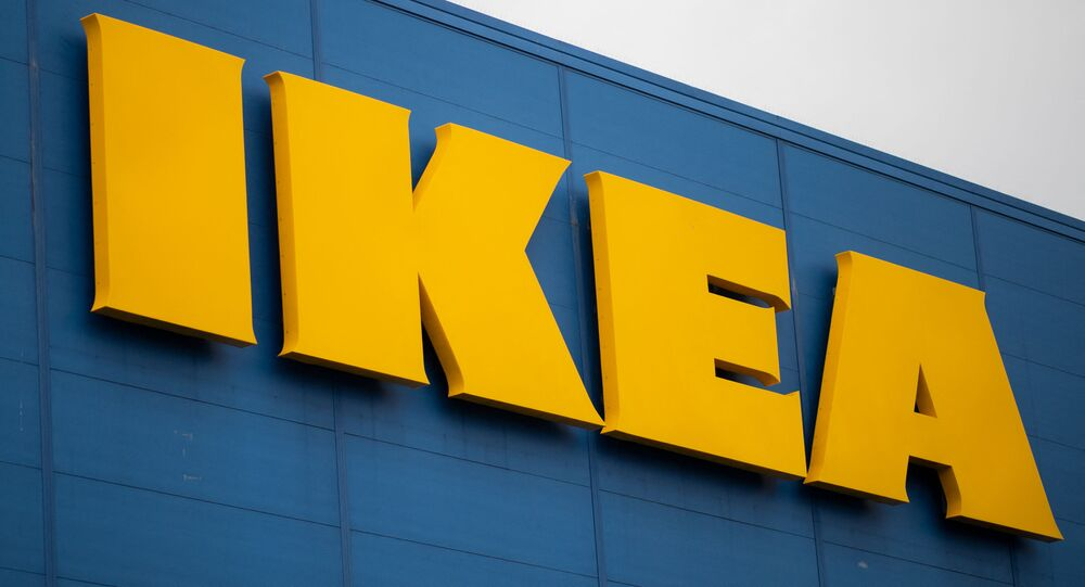 This file photograph taken on January 13, 2021, shows the logo of Scandanavian furniture chain store Ikea at Saint-Herblain, on the outskirts of Nantes, western France.