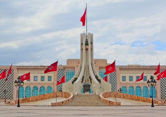 Tunisia monument flags