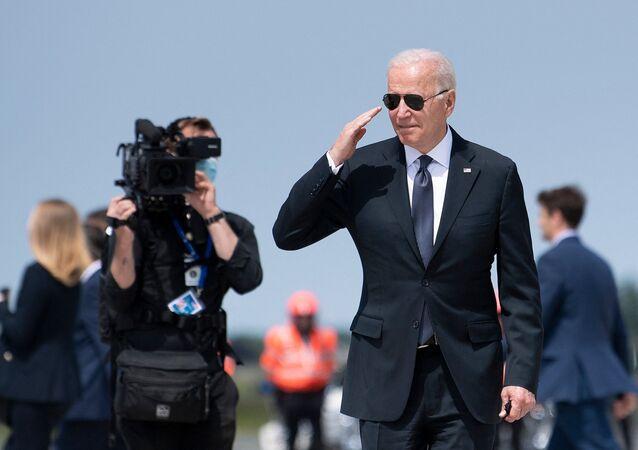 US President Joe Biden walks to Air Force One at Brussels Airport in Belgium on 15 June 2021.