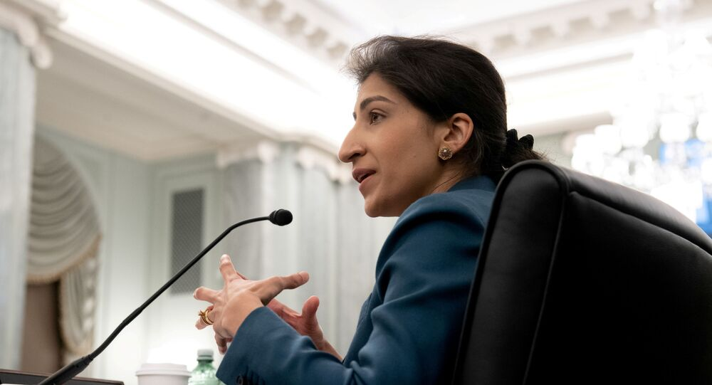 Lina Khan, then-nominee for Commissioner of the Federal Trade Commission (FTC), testifies during a Senate Committee on Commerce, Science, and Transportation confirmation hearing on Capitol Hill in Washington, DC, U.S. April 21, 2021