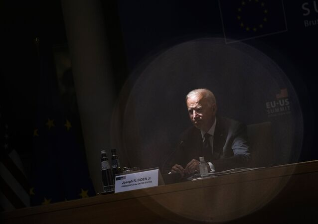 U.S. President Joe Biden listens to comments during the EU-US summit at the European Council building in Brussels, Tuesday, June 15, 2021.