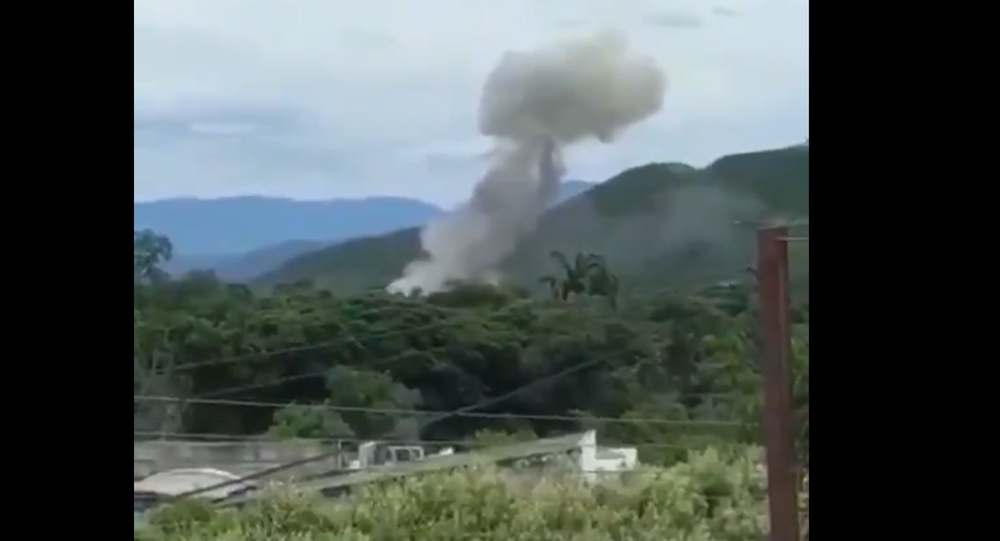Screenshot from a video allegedly showing the moment of explosion at a Colombian Army facility in the city of Cucuta