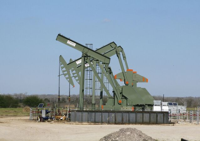 A pump jack used to help lift crude oil from a well in South Texas
