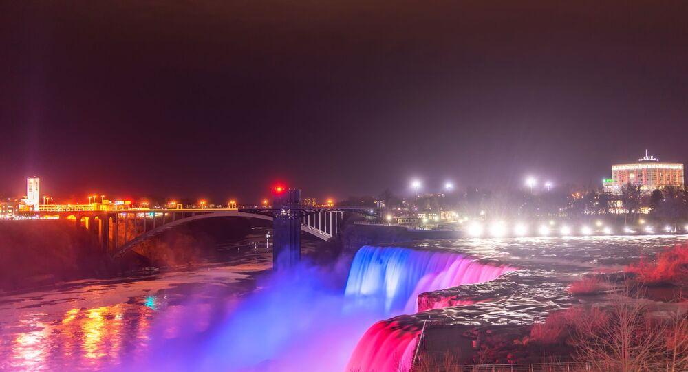 The view of Niagara Falls at the Niagara Park in New York, US