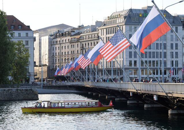A view shows Mont-Blanc bridge decorated with flags of the USA and Russia ahead of the June 16 summit between U.S. President Joe Biden and Russian President Vladimir Putin, in Geneva, Switzerland