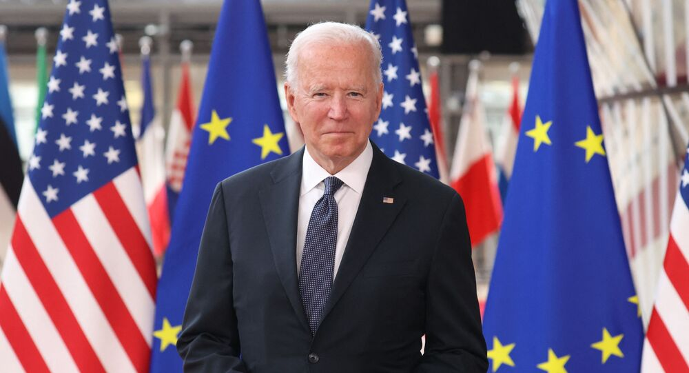 US President Joe Biden arrives for an EU - US summit at the European Union headquarters in Brussels on June 15, 2021.