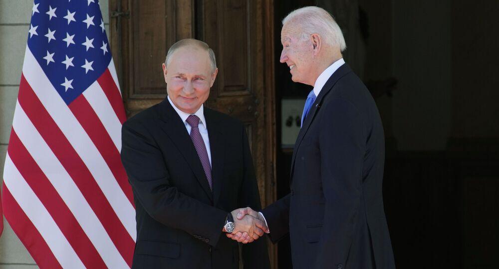Russian President Vladimir Putin, left, and U.S President Joe Biden shake hands during their meeting at the 'Villa la Grange' in Geneva, Switzerland in Geneva, Switzerland, Wednesday, June 16, 2021