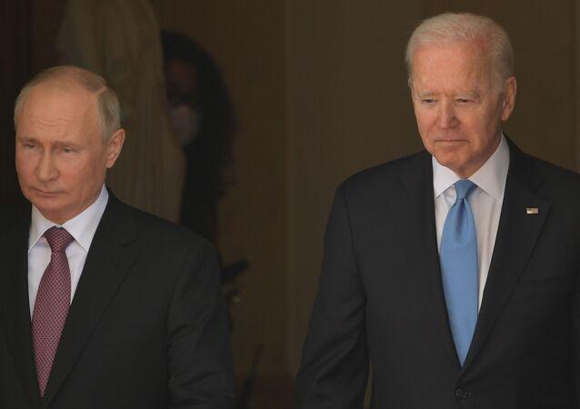 Russian President Vladimir Putin and US President Joe Biden arrives for their meeting at the Villa La Grange in Geneva, Switzerland.