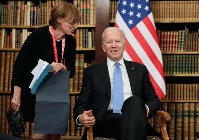 US President Joe Biden during his meeting with Russian President Vladimir Putin in Geneva, Switzerland, 16 June, 2021.