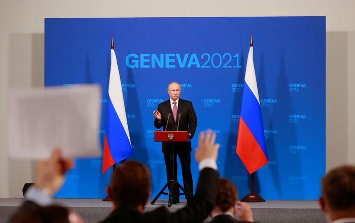 Russia's President Vladimir Putin holds a news conference after the U.S.-Russia summit with U.S. President Joe Biden at Villa La Grange in Geneva, Switzerland, June 16, 2021.