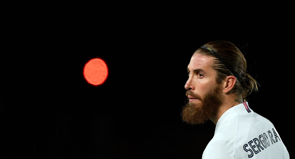 Real Madrid's Spanish defender Sergio Ramos looks on during the UEFA Champions League round of 16 second leg football match between Real Madrid CF and Atalanta at the Alfredo di Stefano stadium in Valdebebas, on the outskirts of Madrid on March 15, 2021