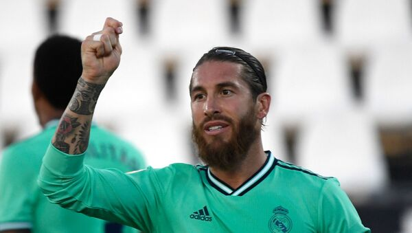 Real Madrid's Spanish defender Sergio Ramos gestures during the Spanish league football match Club Deportivo Leganes SAD against Real Madrid CF at the Estadio Municipal Butarque in Leganes on July 19, 2020 - Sputnik International