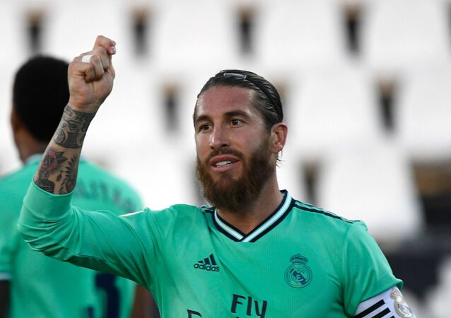Real Madrid's Spanish defender Sergio Ramos gestures during the Spanish league football match Club Deportivo Leganes SAD against Real Madrid CF at the Estadio Municipal Butarque in Leganes on July 19, 2020