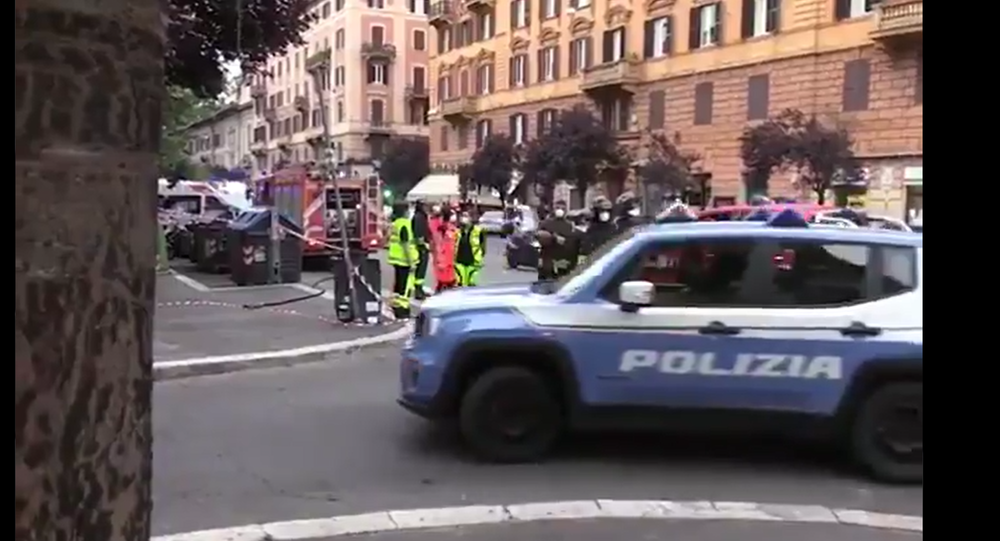 Screenshot from a video allegedly filmed on site where a bomb was discovered in a vehicle belonging to a Rome municipal official