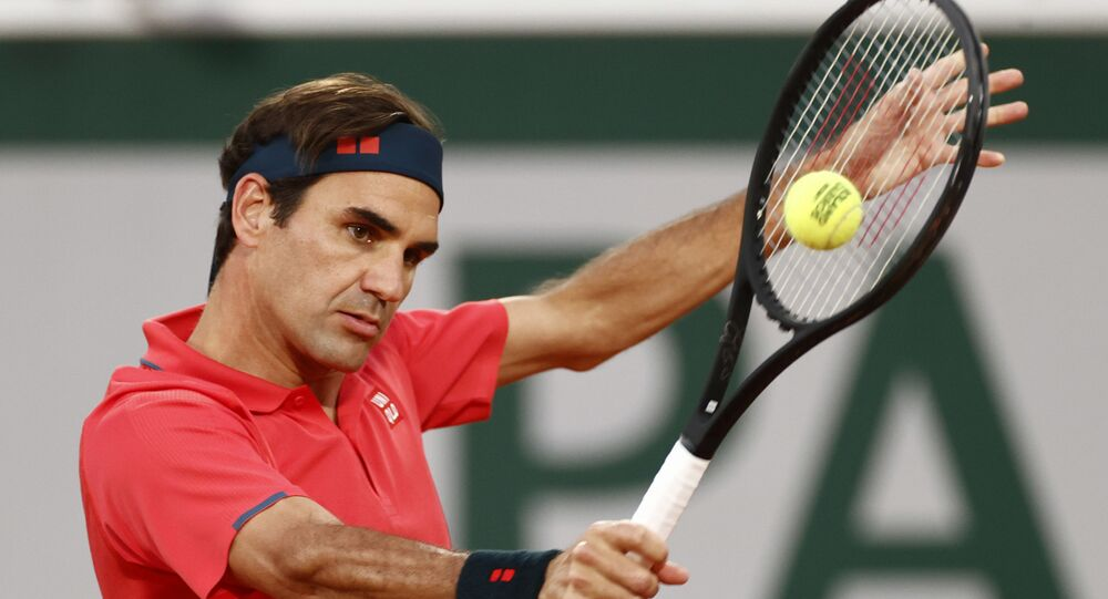 Switzerland's Roger Federer in action during his third round match against Germany's Dominik Koepfer