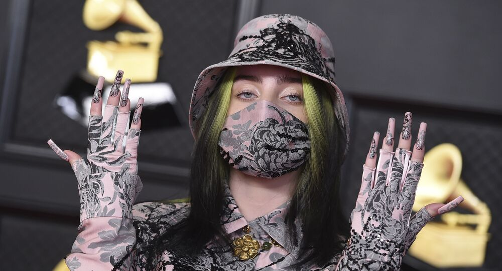 Billie Eilish arrives at the 63rd annual Grammy Awards at the Los Angeles Convention Center on Sunday, March 14, 2021
