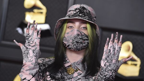 Billie Eilish arrives at the 63rd annual Grammy Awards at the Los Angeles Convention Center on Sunday, March 14, 2021 - Sputnik International