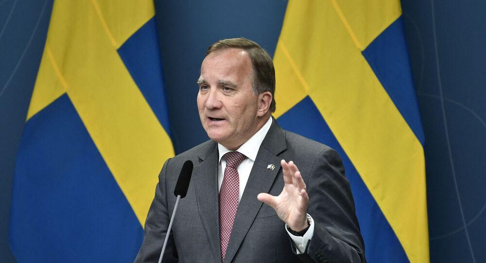 Sweden's Prime Minister Stefan Lofven speaks on June 17, 2021 during a press conference at Rosenbad in Stockholm after the Sweden Democrats' request for a vote on a motion of censure.