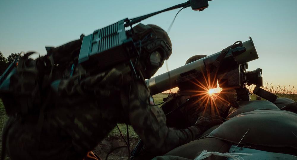 Polish troops firing Javelin anti-tank system in drills in Torun, Poland.