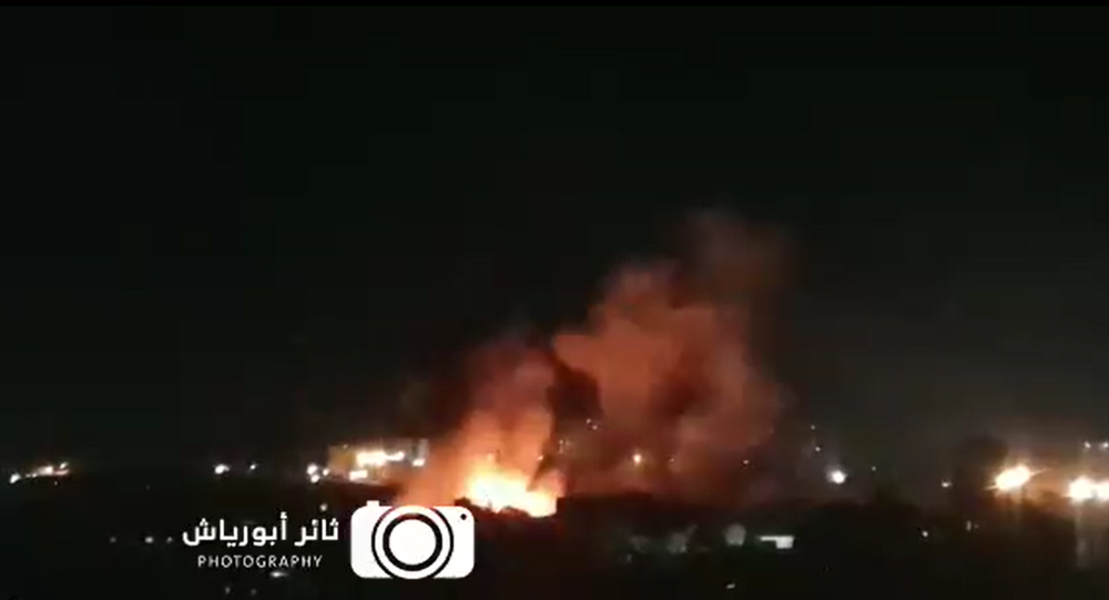Screenshot from a video allegedly showing the moment an Israeli airstrike targets a Hamas military site in northern Gaza