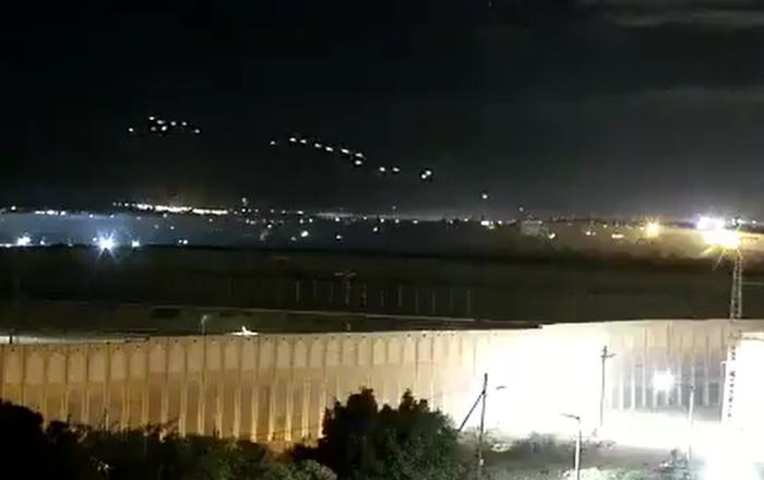 Screenshot from a video allegedly showing heavy weapon fire from Gaza that could have led to the activation of rocket sirens in Israel