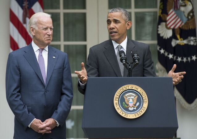 US President Barack Obama speaks alongside US Vice President Joe Biden about the Supreme Court's ruling to uphold the subsidies that comprise the Affordable Care Act, known as Obamacare, in the Rose Garden of the White House in Washington, DC, June 25, 2015