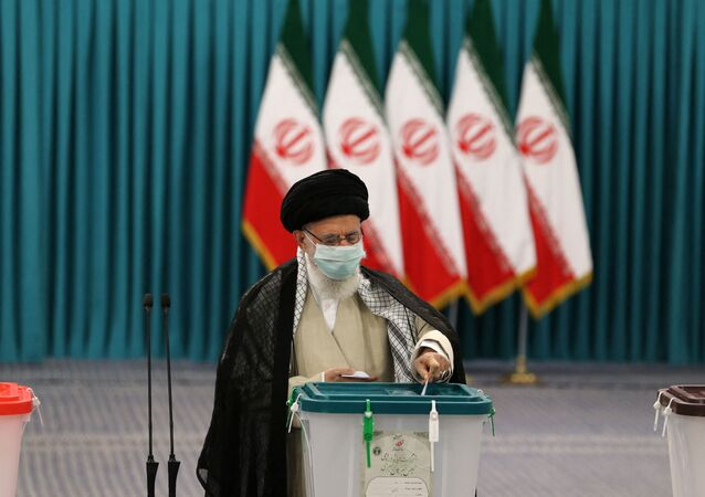 Iran's Supreme Leader Ayatollah Ali Khamenei casts his ballot on June 18, 2021, on the day of the Islamic republic's presidential election.