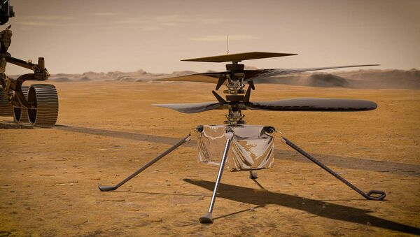 This NASA photo obtained on March 23, 2021 shows an illustration of NASA's Ingenuity Mars helicopter standing on the Red Planet's surface as NASA's Perseverance rover (partially visible on the left) rolls away - Sputnik International