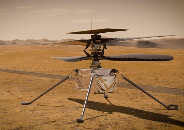 This NASA photo obtained on March 23, 2021 shows an illustration of NASA's Ingenuity Mars helicopter standing on the Red Planet's surface as NASA's Perseverance rover (partially visible on the left) rolls away
