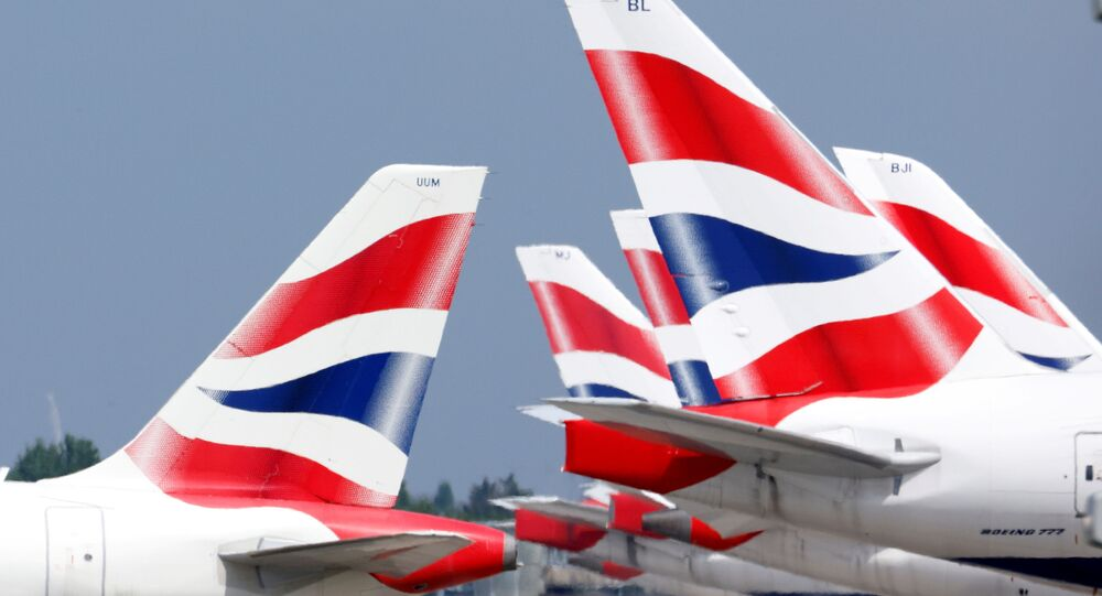 British Airways tail fins are pictured at Heathrow Airport in London, Britain, 17 May 2021