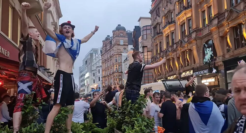 Scottish fans gather at Leicester Square ahead of the Euro 2020 Group D match between England and Scotland, in London, Britain June 17, 2021