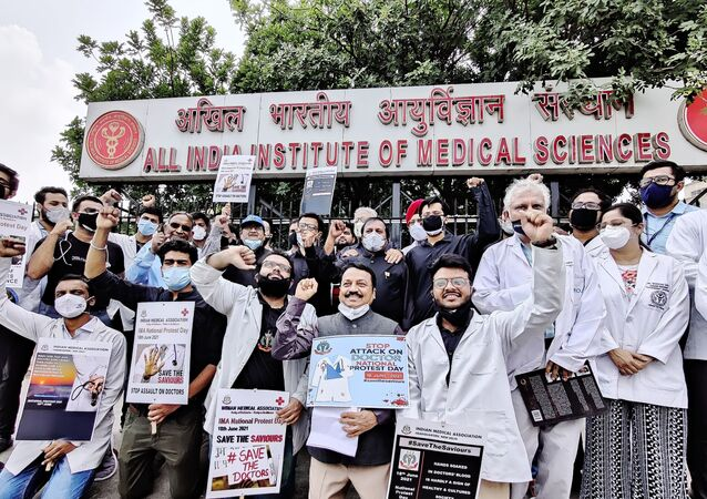 Doctors took part in National Protest Day at AIIMS, New Delhi on Friday to raise their voice against rising violence towards healthcare workers